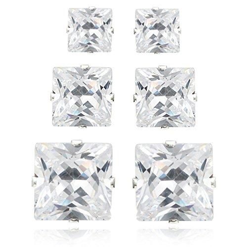 Brinley Co Sterling Silver Cubic Zirconia Princess-Cut Stud Earring Set (3 Pair)