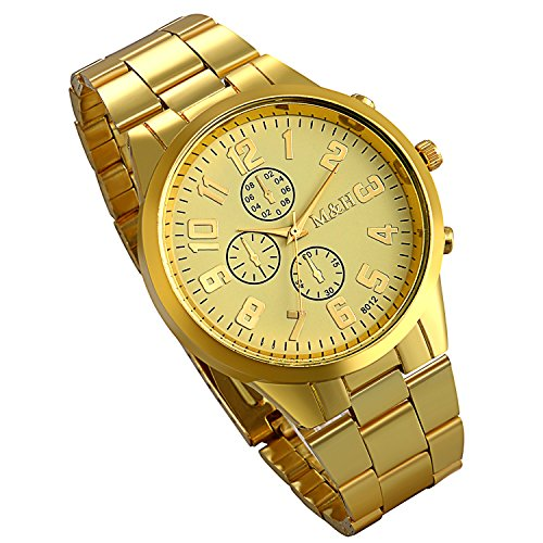 Multi Eye Stainless Steel Watch (Lancardo Classic Casual Gold Tone Full Steel Round Case Multi-Eye Wrist Watches for Men with Gift Bag)