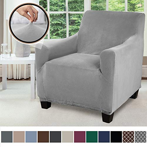 Gorilla Grip Original Velvet Fitted 1 Piece Chair Slipcover, Stretch Up to 23