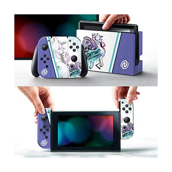 "Controller Gear Officially Licensed Nintendo Pokémon Switch Console Skin ""Mewtwo Skate Set 1"" 2"