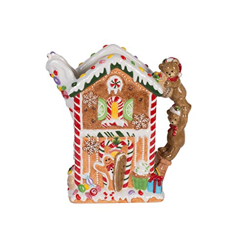 Fitz and Floyd 55-010 Christmas Gingerbread Pitcher, Red/Tan