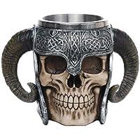 Caneca Double Corne Caveira Crânio Viking Choop Cerveja