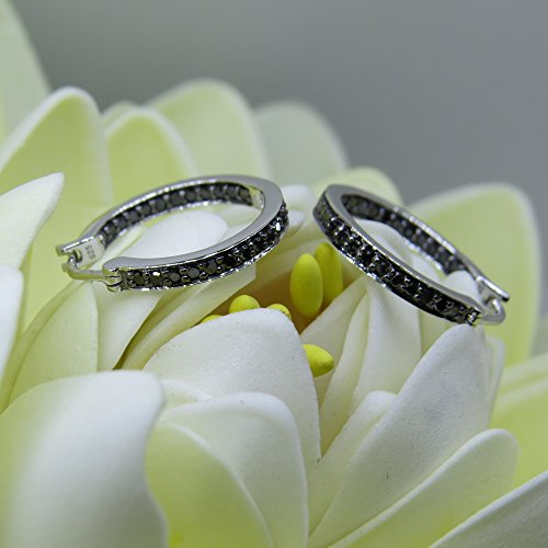 038-Carat-ctw-Sterling-Silver-Round-Black-Diamond-Fine-In-and-Out-Huggie-Hoop-Earrings-38-CT