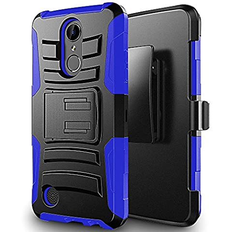 ZTE MAX XL N9560 case, Luckiefind Dual Layer Hybrid Side Kickstand Cover Case With Holster Clip, Tempered Glass screen Protector Accessory (Holster (Zte Phones Protector)