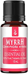 Myrrh Essential Oil (15 ml) by Pure, Convenient Dropper Cap Bottle, Food Safe, Cleansing, Beautifying, & Health-Promoting Agent, Hot, Musky, & Smokey Aroma