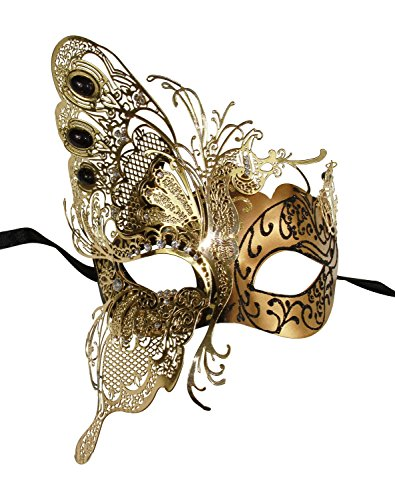 [KAYSO INC The Butterfly Goddess Elegant Venetian Laser Cut Masquerade Mask (Gold)] (Elegant Bride Costumes)
