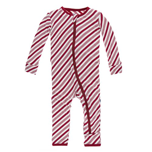 Kickee Pants Holiday Coverall with Zipper - Crimson Candy Cane Stripe, 18-24 - Stripe Crimson