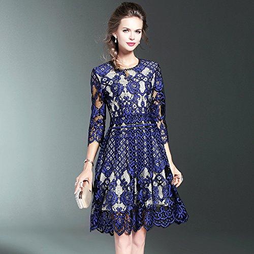 Encajes Elegante Encaje ZHUDJ blue Primavera Vestido Diseño Y Verano qBwAgI