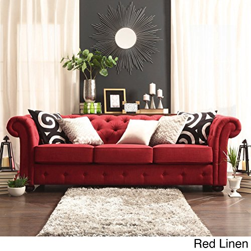(US Stock) Classic Scroll Arm 3 Seater Sofa Red/ Grey/