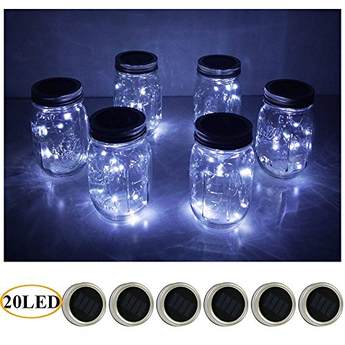 - 6 Pack Mason Jar Lights 20 LED Solar Cold White Fairy String Lights Lids Insert for Patio Yard Garden Party Wedding Christmas Decorative Lighting Fit for Regular Mouth Jars (20L-CW)