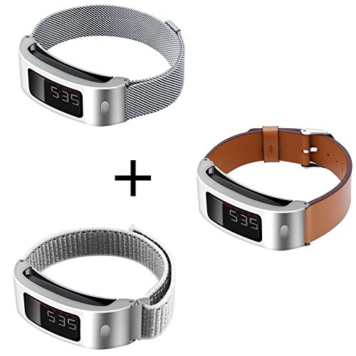 C2D JOY Set of 3 Compatible with Garmin Vivofit and Vivofit 2 Replacement Band with Silver Metal Case - Silve Metal Weave, S + Seashell Sport Mesh, S + Brown Leather, M