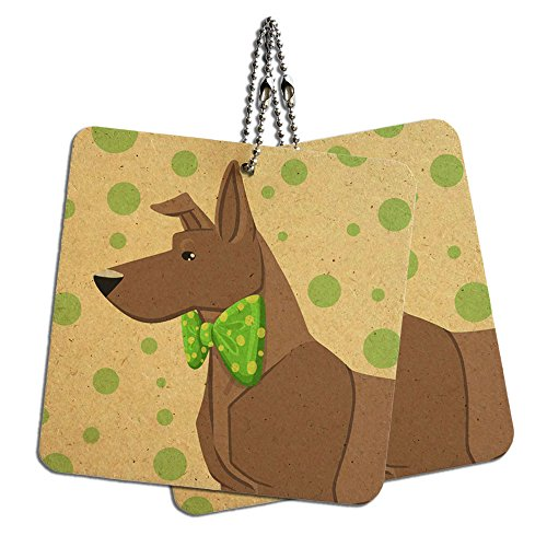 """Brown Dog Wearing Bowtie Wood MDF 4"""" x 4"""" Mini Signs Gift"""