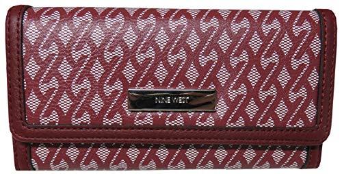 Nine West Womens It Girl Signature Checkbook Wallet Claret Red - Signature Checkbook Wallet