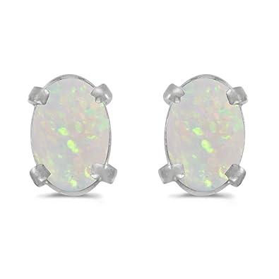 ae8e51718 Amazon.com: 14K White Gold .38 ct Oval Opal 6x4mm Gemstone Stud Earrings  for Women: Stud Earrings: Jewelry