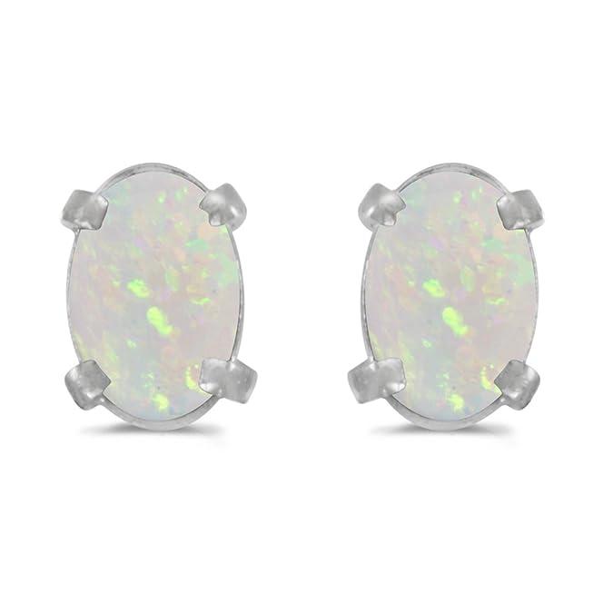 Beautiful Amazon.com: 14k White Gold Oval Opal Earrings: Stud Earrings: Jewelry AU99