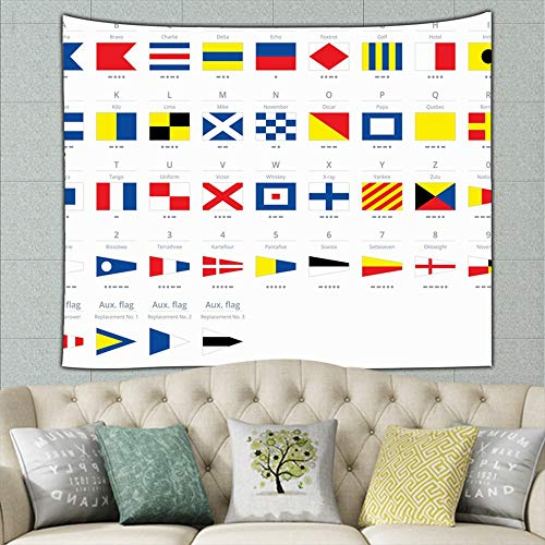 international maritime signal nautical flags morse education flag signs symbols Tapestry Wall Hanging, Wall Tapestry with Art Nature Home Decorations for Living Room Bedroom Dorm Decor 90 x 60 inch