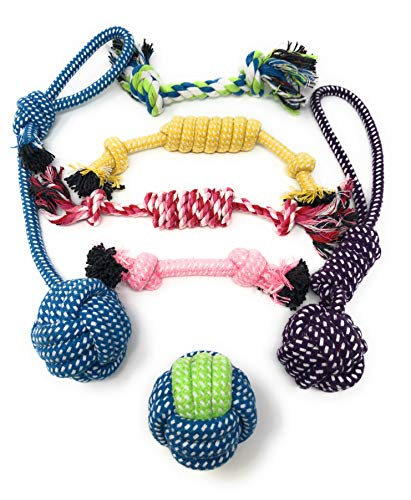 BK PRODUCTS LLC Puppy Toys & Dog Chew Toys for Small & Medium Dogs and Puppies – Set of 7 Value Pack – Chewing Toy – Teething Toy – Tug of War
