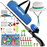 PLUSINNO Kids Fishing Pole,Portable Telescopic Fishing Rod and Reel Full Kits, Spincast Youth Fishing Pole Fishing Gear for Kids, Boys (Grey Handle with Bag&Hat, 120CM 47.24IN)