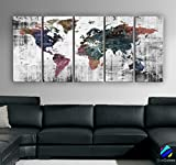Original by BoxColors Xlarge 30''x 70'' 5 Panels 30x14 Ea Art Canvas Print Watercolor Old Map World Push Pin Travel Wall decor ( framed 1.5'' depth ) M1809