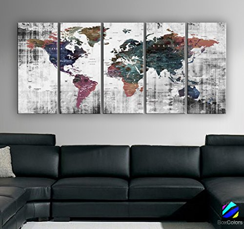 Print Watercolor Old Map World Push Pin Travel Wall decor