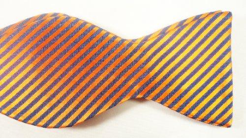 Marlon Garci 100% Woven Silk Blue and Orange Thin Stripe Silk Bow Tie - Florida Gators