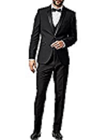 Amazon.com: nmfashions para hombre solapa de pico negro Slim ...