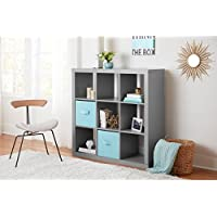 Better Homes and Gardens 9-Cube Versatile Organizer Storage Bookcase (Gray)