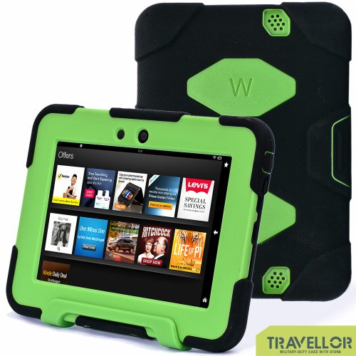 "Kindle Fire Hd 7"" Cover Case New Hot Item High Quality Slim Fit Silicone Plastic Dual Protective Back Cover Standing Case Kid Proof Case for Amazon Kindle Fire Hd 7 Inch(will Only Fit Kindle Fire Hd 7""previous Generation )-Multiple Color Options (Black/Green)"
