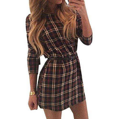 QIYUN.Z Clasica Dama Otono Comprobo El Vestido Camisa Delgada Falda Larga Sin Mangas Marron