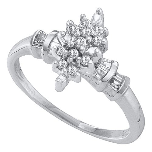 Marquis Shape (10kt White Gold Womens Round Prong-set Diamond Marquis-shape Cluster Ring 1/6 Cttw)