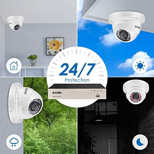 8 30m Visi/ón Nocturna 2TB Disco Duro Detecci/ón de Movimiento ZOSI Kit de C/ámara de Vigilancia PoE 8CH 5MP H.265+ Grabador PoE NVR con C/ámara de Seguridad Exterior