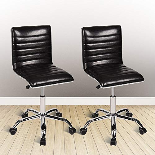 YOURLITE Swivel Mid Back Task Chair, Adjustable Soft Leather Padded Office Chair, Set of 2, Black by YOURLUITE (Image #8)