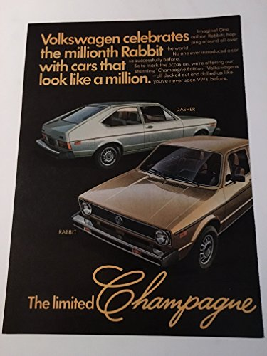 1977 Volkswagen Champagne Editions Two Page Magazine Print Advertisement