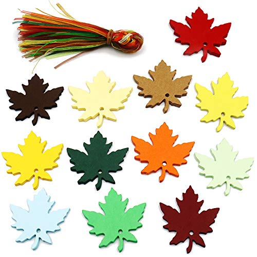 - 120 PCS Paper Gift Tags with Organza Ribbons,Colorful Maple Leaves Craft Hang Tags for Wedding Thanksgiving Christmas Party Favor