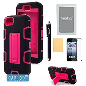 iPhone 5C Case, CAISEDO(TM)Y889-ACD Robot 3-Layers Hybrid Armored Case Cover with Kickstand Suitable For iPhone 5C,Including Stylus,Screen Protector and Cleaning Cloth. [C631B1]Black/Rose