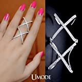 Ananta Jewelry Issued Full Finger Ring White Gold Plated Double X Combined Knuckle Ring Adjustable with CZ Stone UR0064B
