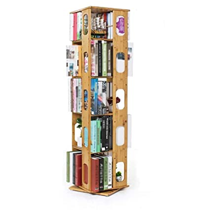 DTY Cabinet Bamboo BookcaseSwivel Bookcase Height Adjustable Bookshelf Multi Layer Storage Shelf