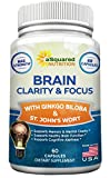 Brain Booster Nootropic Supplement for Focus, Memory & Clarity - Natural Brain Function Support Vitamin Pills for Mind Concentration & Mental Cognitive Health - St. John's Wort, DMAE, Ginkgo Biloba