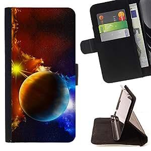 BullDog Case - FOR/LG Nexus 5 D820 D821 / - / planets galaxy gas clouds star sun blue yellow /- Monedero de cuero de la PU Llevar cubierta de la caja con el ID Credit Card Slots Flip funda de cuer