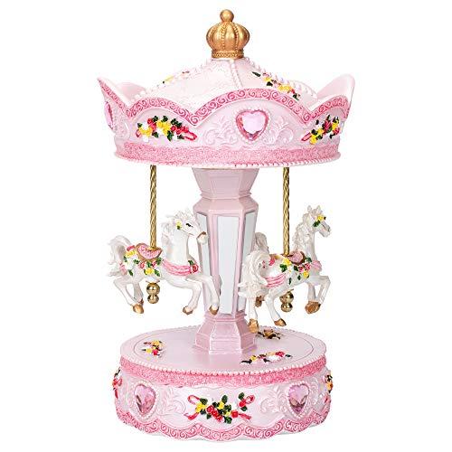 Elanze Designs Pink Rose Horse Musical Carousel 10 inch Rotating Figurine Plays Tune Memory