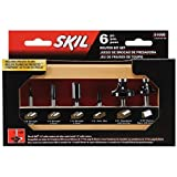 SKIL 91006 6-Piece Carbide Router Bit Set in Wooden Storage Case by Skil