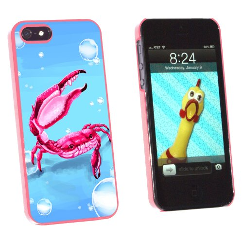 Graphics and More Crab - Sea Creature Ocean Claw Red - Snap-On Hard Protective Case for Apple iPhone 5/5s - Non-Retail Packaging - Pink