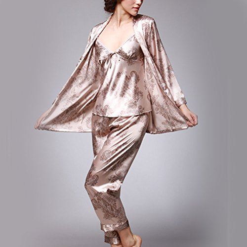 Zhhlaixing A set of three Womens Silk Nightgowns Robes Luxury Pajamas Set Sleepwear Camel