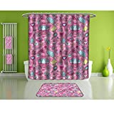 Bathroom Set,Teen Girls,Carriage Teapots Cups,Set Includes 1 Shower Curtain, 12 Shower Hooks, 4 Bath Towels, 2 Hand Towels, and 1 Bath Mat.
