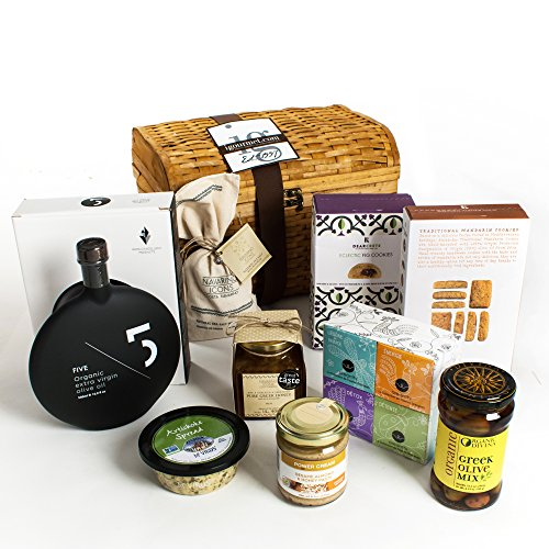 KaBloom Gift Basket Collection: Greek Food Lover's Gourmet Gift Chest of Olive Oil, Spices, Spreads, Honey and Cookies by KaBloom