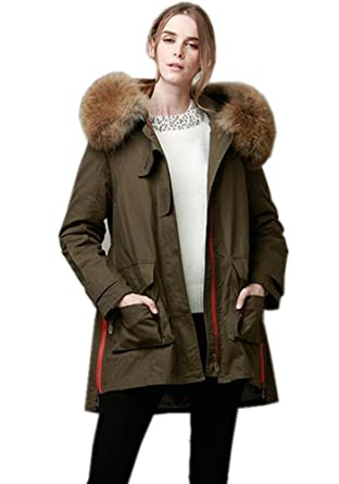 64a8682d5f84e Melody Women s Large Raccoon Fur Collar Hooded Winter Jacket Coat Parkas  Army Green Loose Outwear (