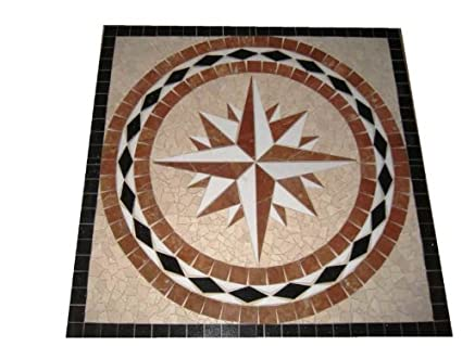 Tile Floor Medallion Marble Mosaic Square Star Design 24\