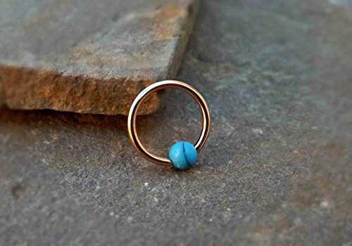 Rose Gold Cartilage Earring with Turquoise Bead Captive Hoop Body Jewelry 16ga Helix (Rose Gold Turquoise Earrings)
