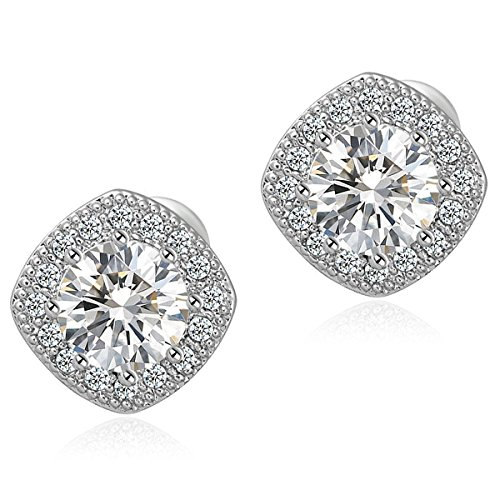 Dimayar 18K White Gold Plated Square Shape Stud Earrings Cz Stud Earrings Stud Earrings for Teens&Women (Diamond Ring Sale compare prices)