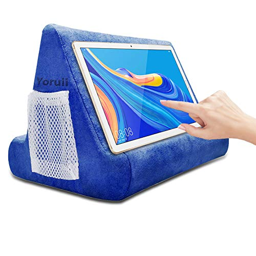 Soft Pad Pillow Stand Holder Tablet Mobile Phone Pillow Lap Stand Multi-Angle Reading Support Pillow Stand Suitable for Tablet Computer Ereader Smart Phone and Books (Blue)